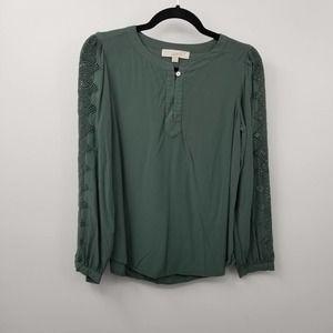 LOFT Eyelet Long Sleeve Button Keyhole Shirt Top